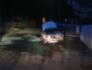 Wypadek betonówka, pożar auta